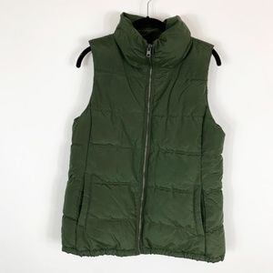Womens Medium Green Puffer Down Vest Old Nacy